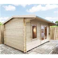 INSTALLED 4.2m x 3.6m Premier Reverse Apex Home Office Log Cabin (Single Glazing) - Free Floor & Felt (28mm) - INSTALLATION INCLUDED