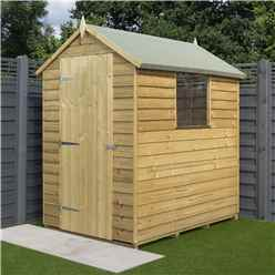 6 x 4 Pressure Treated Overlap Shed - Single Door and 1 Window