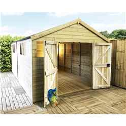 14 x 12 Premier Pressure Treated Tongue And Groove Apex Shed With Higher Eaves And Ridge Height 6 Windows And Double Doors (12mm Tongue & Groove Walls, Floor & Roof) + Safety Toughened Glass