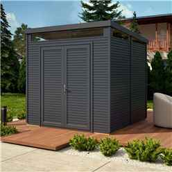 8 x 8 Pent Security Shed - Painted Anthracite - Double Doors - 19mm Tongue and Groove