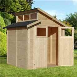 7 x 7 Skylight Shed - Double Doors - 19mm T + G Walls, Floor + Roof - Unpainted