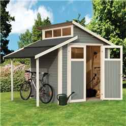 7 x 10 Skylight Shed With Lean To - Double Doors -19mm Tongue and Groove Walls, Floor + Roof - Painted With Light Grey