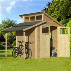 7 x 10 Skylight Shed With Lean To - Double Doors -19mm Tongue and Groove Walls, Floor + Roof
