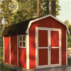 11 x 8 Dutch Barn - Double Doors - 19mm Tongue and Groove Walls and Floor - Painted Swedish Red