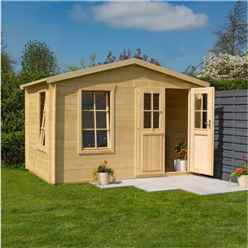 3.4m x 2.1m Studio Apex Log Cabin - 19mm Wall Thickness (11 x 7)