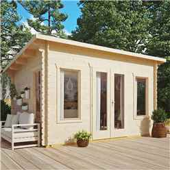 4.4m x 3.4m Sanctuary Pent Log Cabin - 28mm Wall Thickness