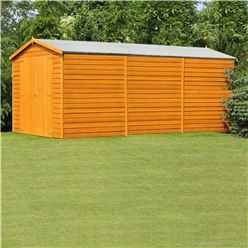 15 x 10 (4.52m x 2.99m) Windowless Dip Treated Overlap Apex Wooden Garden Shed With Double Doors (11mm Solid OSB Floor) - CORE