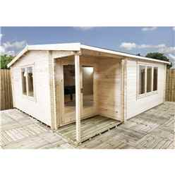 INSTALLED 4.8m x 5.7m Premier Home Office Apex Log Cabin (Single Glazing) - Free Floor & (44mm)