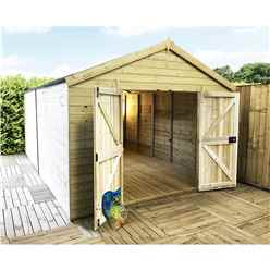 13 x 11 Windowless Premier Pressure Treated Tongue And Groove Apex Shed With Higher Eaves And Ridge Height And Double Doors (12mm Tongue & Groove Walls, Floor & Roof)