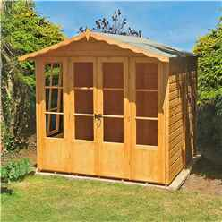 INSTALLED - 7 x 7 (2.05m x 1.98m) - Premier Wooden Summerhouse - Double Doors - Side Windows - 12mm T&G Walls & Floor INCLUDES INSTALLATION
