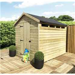 8 x 8 Security Pressure Treated Tongue & Groove Apex Shed + Single Door + Safety Toughened Glass