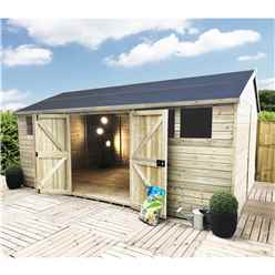 20 x 13 Reverse Premier Pressure Treated Tongue And Groove Apex Shed With Higher Eaves And Ridge Height 6 Window And Double Doors (12mm Tongue & Groove Walls, Floor & Roof) + Safety Toughened Glass