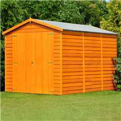 INSTALLED 10 x 6 (2.99m x 1.79m) Windowless Dip Treated Overlap - Apex Garden Shed - Double Doors - 11mm Solid OSB Floor
