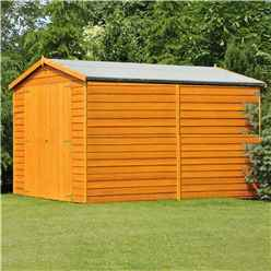 INSTALLED 10 x 10 (2.99m x 2.99m) Windowless Dip Treated Overlap Apex Wooden Garden Shed with Double Doors (11mm Solid OSB Floor)