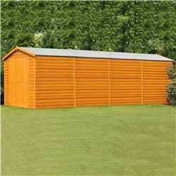 INSTALLED 20 x 10 (6.05m x 2.99m) Windowless Dip Treated Overlap Apex Wooden Garden Shed With Double Doors (11mm Solid OSB Floor)