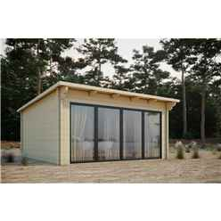 INSTALLED 6m x 4m Sliding Door Pent Log Cabin - Double Glazing (68mm Wall Thickness)