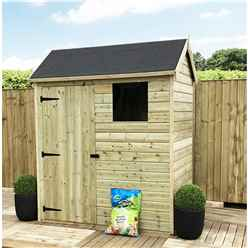 6 X 6 Reverse Apex Premier Pressure Treated Tongue And Groove Shed With Higher Eaves And Ridge Height + 1 Window + Single Door + Safety Toughened Glass