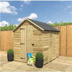 8 X 6 **Flash Reduction** Super Saver Pressure Treated Tongue And Groove Apex Shed + Single Door + Low Eaves