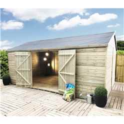 30 x 13 Reverse Premier Windowless Pressure Treated Tongue And Groove Apex Shed With Higher Eaves And Ridge Height And Double Doors (12mm Tongue & Groove Walls, Floor & Roof)