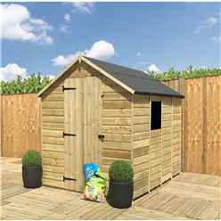 INSTALLED 7 x 5 **Flash Reduction** Super Saver Pressure Treated Tongue and Groove Apex Shed + Single Door + Low Eaves + 1 Window