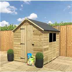 INSTALLED 8 x 5 **Flash Reduction** Super Saver Pressure Treated Tongue and Groove Apex Shed + Single Door + Low Eaves + 2 Windows