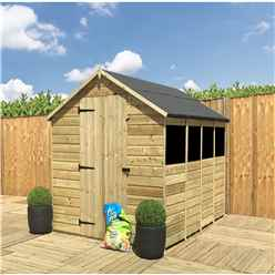 14 x 6 **Flash Reduction** Super Saver Pressure Treated Tongue and Groove Apex Shed + Single Door + Low Eaves + 4 Windows