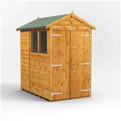 6 X 4 Premium Tongue And Groove Apex Shed - Double Doors - 2 Windows - 12mm Tongue And Groove Floor And Roof