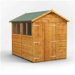 8 X 6 Premium Tongue And Groove Apex Shed - Double Doors - 4 Windows - 12mm Tongue And Groove Floor And Roof