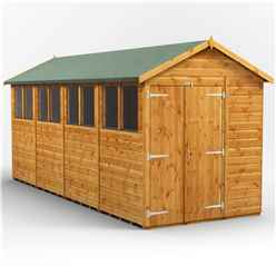 16 X 6 Premium Tongue And Groove Apex Shed - Double Doors - 8 Windows - 12mm Tongue And Groove Floor And Roof