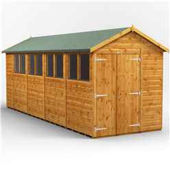 18 X 6 Premium Tongue And Groove Apex Shed - Double Doors - 8 Windows - 12mm Tongue And Groove Floor And Roof
