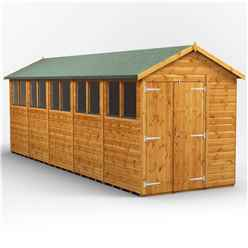 20 x 6 Premium Tongue and Groove Apex Shed - Double Doors - 10 Windows - 12mm Tongue and Groove Floor and Roof