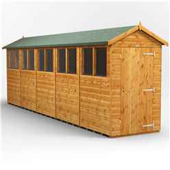 20 x 4 Premium Tongue and Groove Apex Shed - Single Door - 10 Windows - 12mm Tongue and Groove Floor and Roof