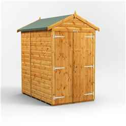 6 X 4 Premium Tongue And Groove Apex Shed - Double Doors - Windowless - 12mm Tongue And Groove Floor And Roof