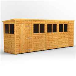 18 X 4 Premium Tongue And Groove Pent Shed - Single Door - 8 Windows - 12mm Tongue And Groove Floor And Roof
