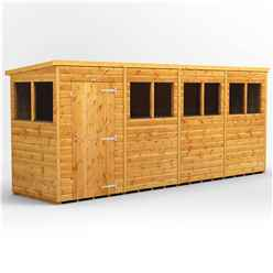 16 X 4 Premium Tongue And Groove Pent Shed - Single Door - 8 Windows - 12mm Tongue And Groove Floor And Roof