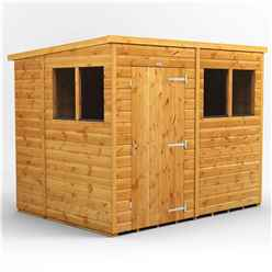 8 X 6 Premium Tongue And Groove Pent Shed - Single Door - 4 Windows - 12mm Tongue And Groove Floor And Roof