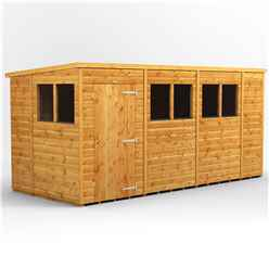 14 X 6 Premium Tongue And Groove Pent Shed - Single Door - 6 Windows - 12mm Tongue And Groove Floor And Roof