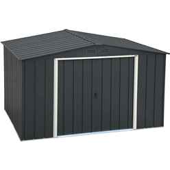 OOS - BACK W/C 31ST MAY 2021 - 10 X 8 Value Apex Metal Shed - Anthracite Grey (3.22m X 2.42m)