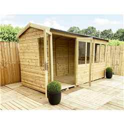 10 x 6 REVERSE Pressure Treated Tongue And Groove Apex Summerhouse with Higher Eaves And Ridge Height + Overhang + Toughened Safety Glass + Euro Lock with Key