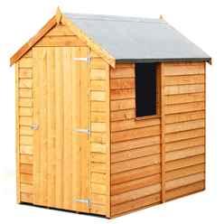 INSTALLED - 6 x 4 (1.83m x 1.20m) - Super Value Overlap - Apex Wooden Garden Shed - 1 Window - Single Door - 10mm Solid OSB Floor