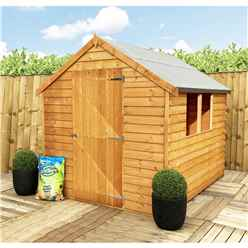 INSTALLED 8 x 6 (2.39m x 1.83m) - Super Value Overlap - Apex Garden Wooden Shed - 2 Windows - Single Door - 10mm Solid OSB Floor