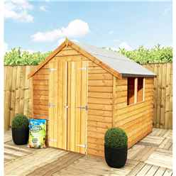 ** FLASH REDUCTION** 8 x 6 (2.39m x 1.83m) - Super Value Overlap - Apex Garden Wooden Shed - 2 Windows - Double Doors - 10mm Solid OSB Floor