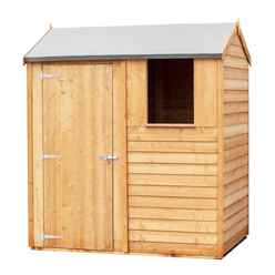 ** Flash Reduction** 6 X 4 (1.83m X 1.20m) - Reverse - Super Value Overlap - Apex Wooden Garden - 1 Window - Single Door - 10mm Solid OSB Floor - CORE