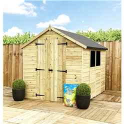 8 x 6 **Flash Reduction** Super Saver Pressure Treated Tongue and Groove Apex Shed + Double Doors + Low Eaves + 2 Windows