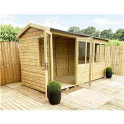 11 x 7 REVERSE Pressure Treated Tongue And Groove Apex Summerhouse with Higher Eaves And Ridge Height + Overhang + Toughened Safety Glass + Euro Lock with Key