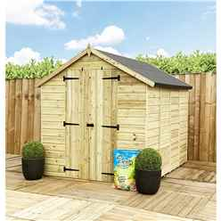 7 x 5 **Flash Reduction** Super Saver Pressure Treated Tongue and Groove Apex Shed + Double Doors + Low Eaves