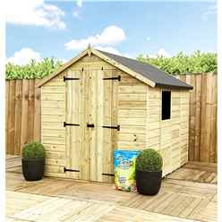 7 X 5 **flash Reduction** Super Saver Pressure Treated Tongue And Groove Apex Shed + Double Doors + Low Eaves + 1 Window
