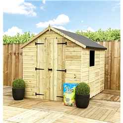 7 X 6 **flash Reduction** Super Saver Pressure Treated Tongue & Groove Apex Shed + Double Doors + Low Eaves + 1 Window