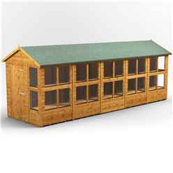 20 X 6 Premium Tongue And Groove Apex Potting Shed - Single Door - 24 Windows - 12mm Tongue And Groove Floor And Roof
