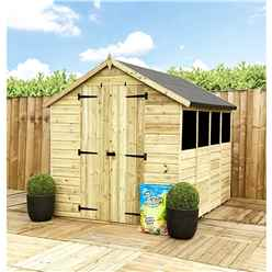 14 X 8 **flash Reduction** Super Saver Pressure Treated Tongue And Groove Apex Shed + Double Doors + Low Eaves + 4 Windows
